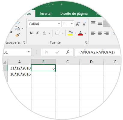 Calcular Meses Entre Dos Fechas Excel 2016 Y 2019 Años Y Días Solvetic