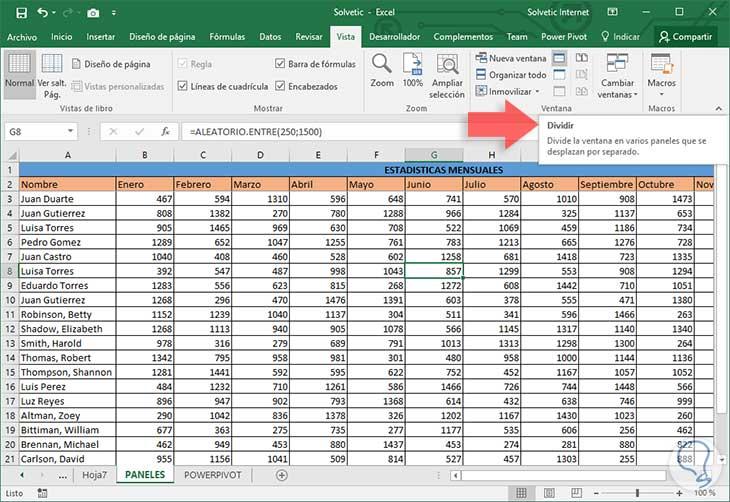 Fijar, bloquear y congelar paneles, columnas, filas Excel 2016 ...