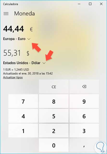 C mo convertir moneda en calculadora windows 10 solvetic for Calculadora pasi