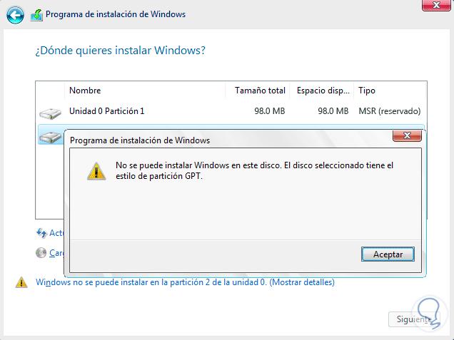 1 no se puede instalar Windows en este disco el disco seleccionado tiene el estilo de partición MBR, GPT.png