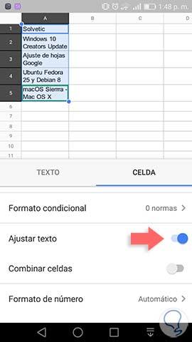 Cómo ajustar texto en hojas de cálculo Google Sheets PC y móvil ...