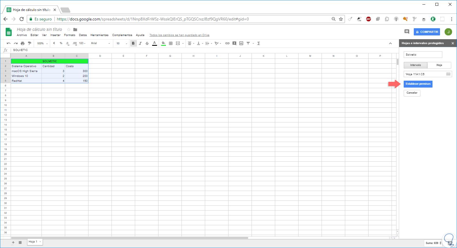 Cómo bloquear celdas en hoja de cálculo Google Docs - Solvetic