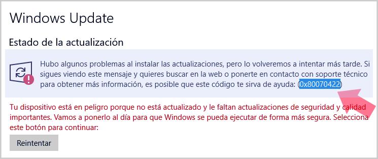 error (0x80070422)