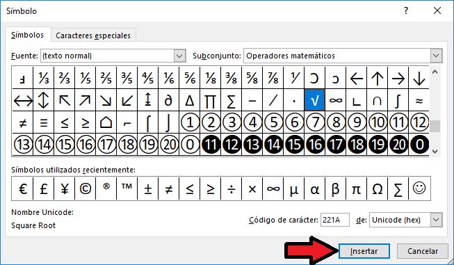Como poner el símbolo de raíz cuadrada en Excel 2019 o Excel ...