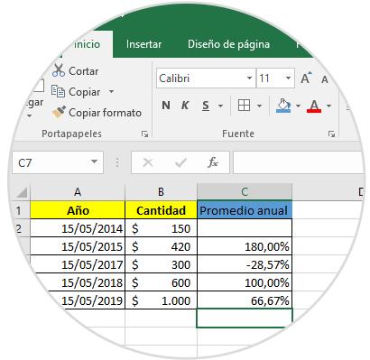 Cómo calcular % tasa de crecimiento promedio anual Excel 2016 - Solvetic