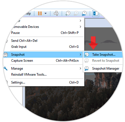 how to take a snapshot in vmware workstation 12 player