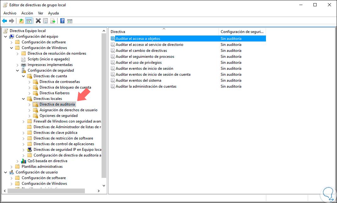 Crear política de auditoría Directorio Activo Windows Server 2016 ...