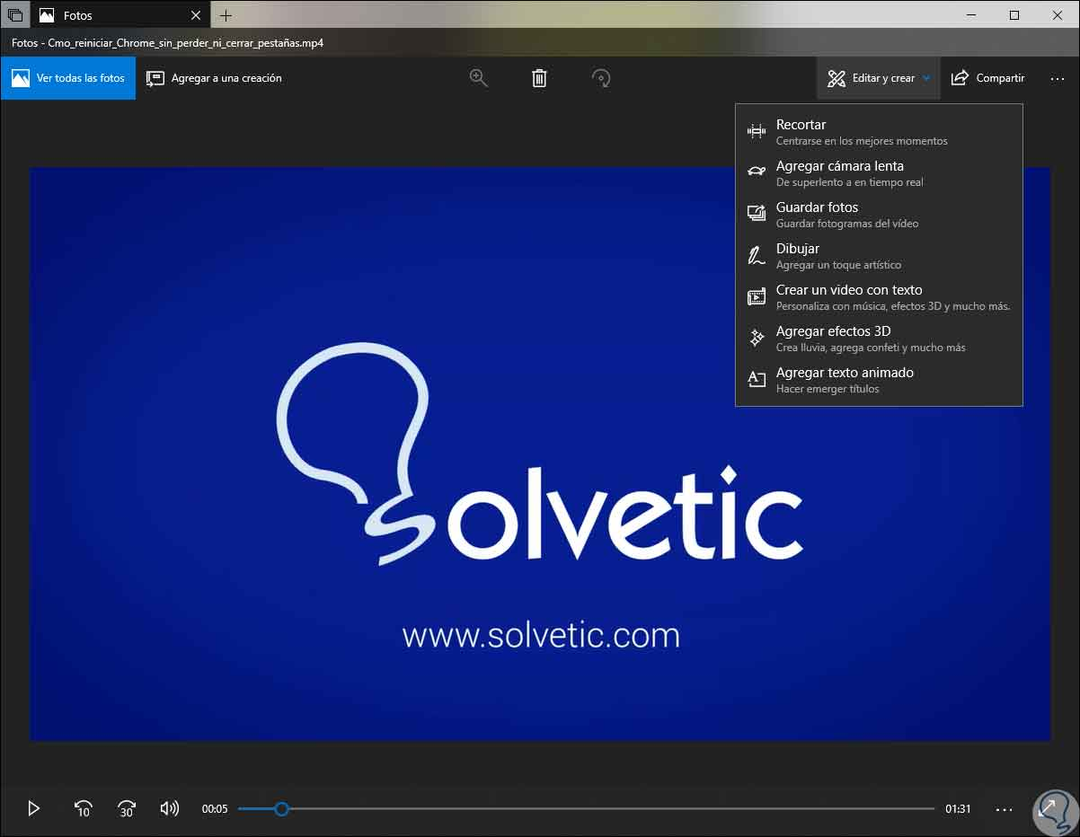Cómo usar Editor de vídeo oculto en Windows 10 sin programas - Solvetic