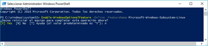 Imagen adjunta: 3-'Activar-Windows-Subsytem-for-Linux-modo-comandos.png