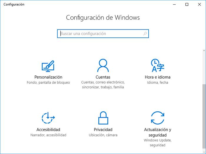Icono de Configuración no aparece en Menú Inicio Windows 10