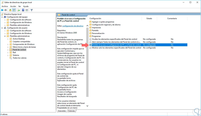Deshabilitar Panel de Control y Configuración GPO Windows 10 - Solvetic