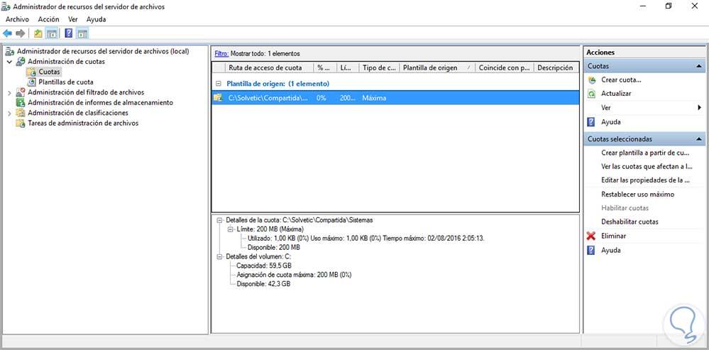 Administrar cuotas con File Server Manager Windows Server - Solvetic