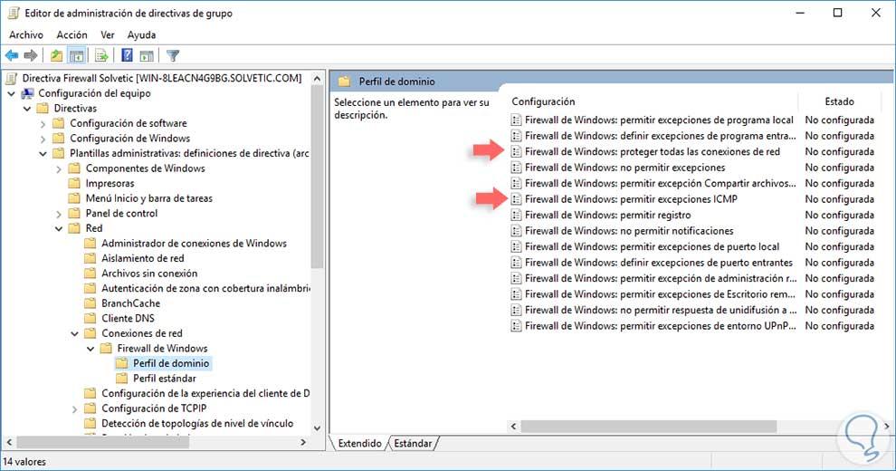 Cómo establecer Firewall mediante GPO en Windows Server 2016 - Solvetic