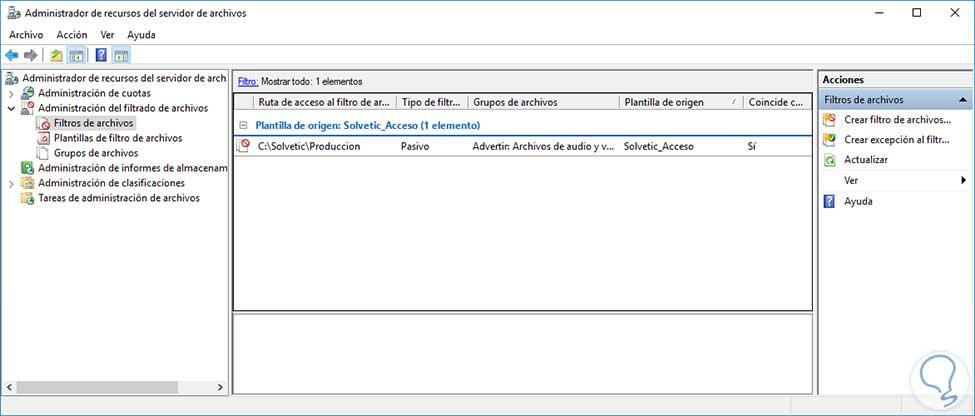 Cómo administrar filtrado de archivos en Windows Server 2016 - Solvetic