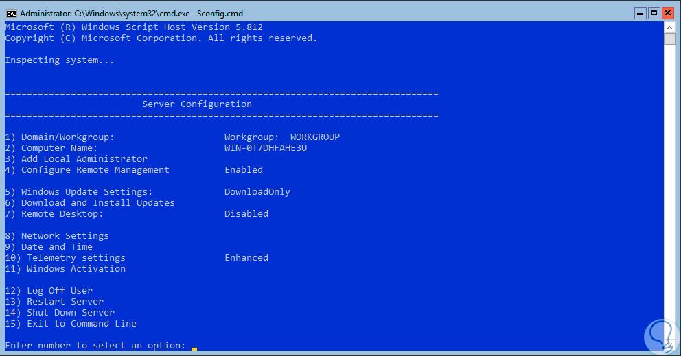 Cómo configurar Windows Server 2016 Core con Sconfig cmd