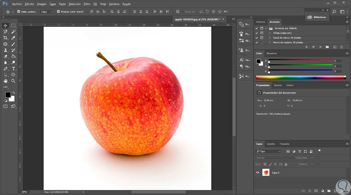 Crear gotas de agua en manzana con Photoshop CC 2017 - Solvetic