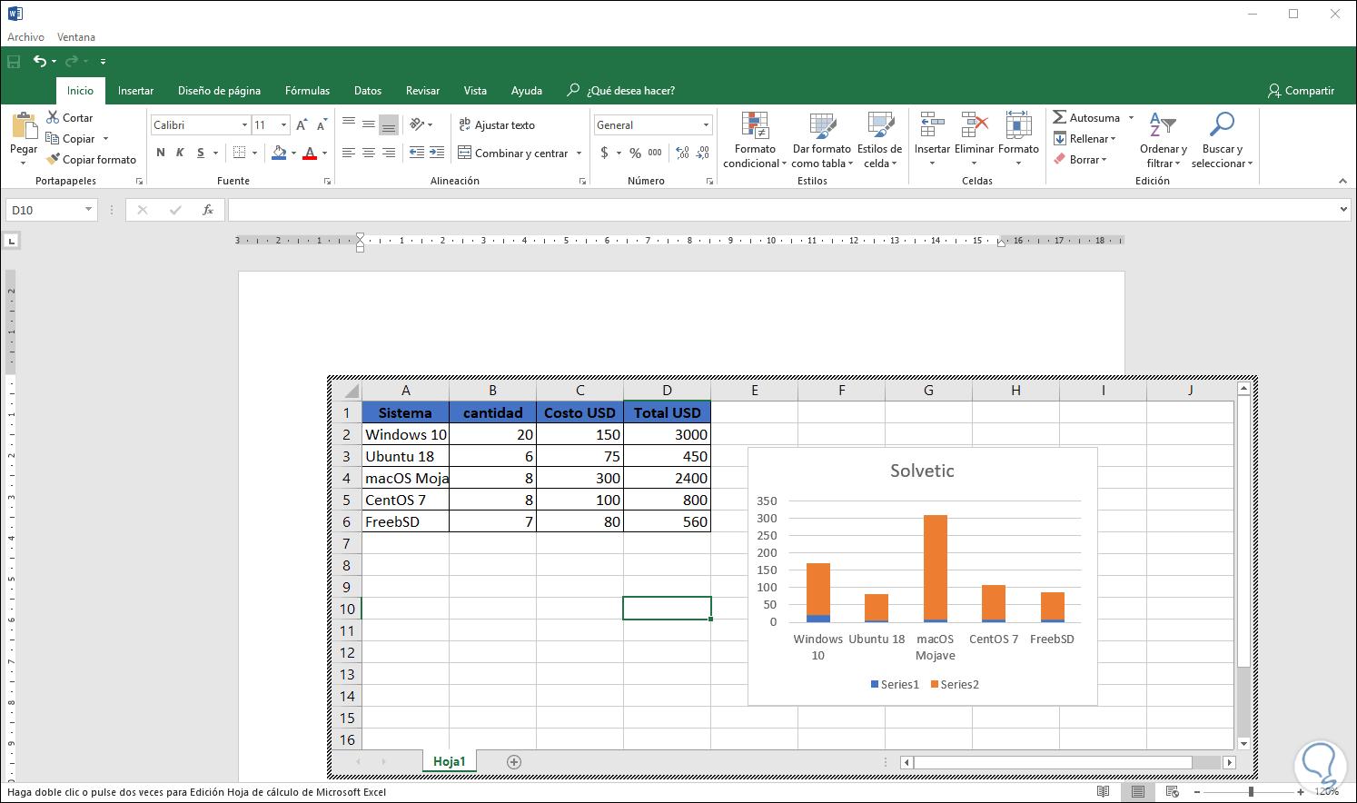 Como insertar una tabla de excel en word