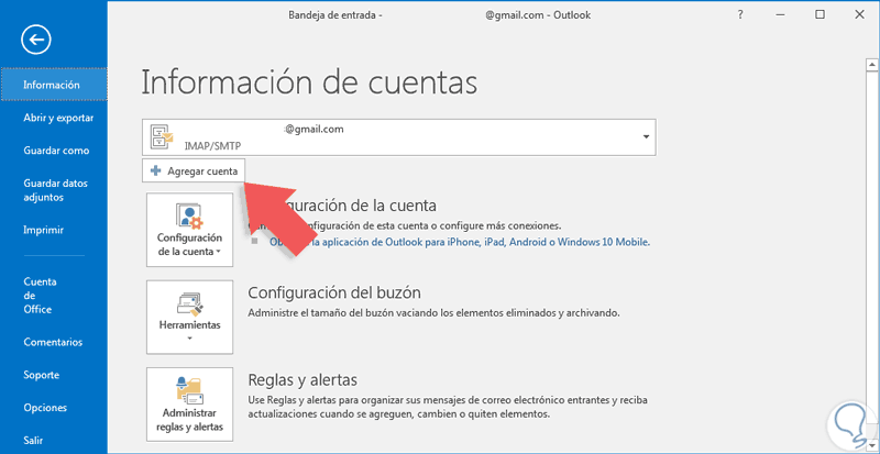 A adir cuenta en microsoft outlook 2016 solvetic for Fuera de oficina gmail