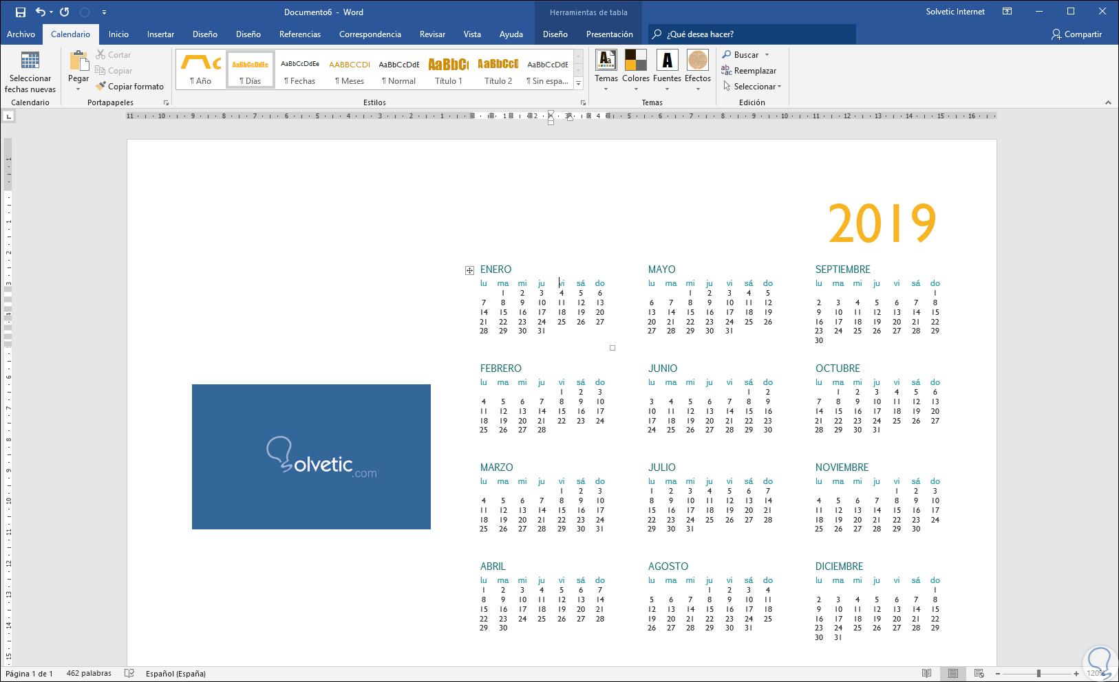 Calendario Word 2020.Como Crear Y Hacer Calendario 2019 En Word O Excel 2019
