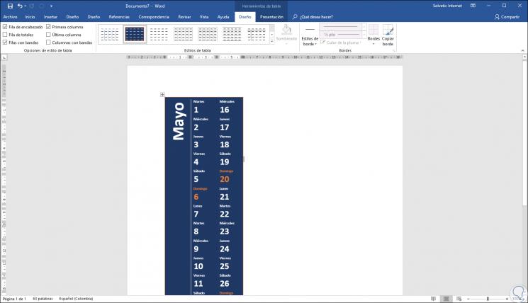 Como Hacer Un Calendario En Word.Como Crear Y Hacer Calendario 2019 En Word O Excel 2019 2016 Solvetic