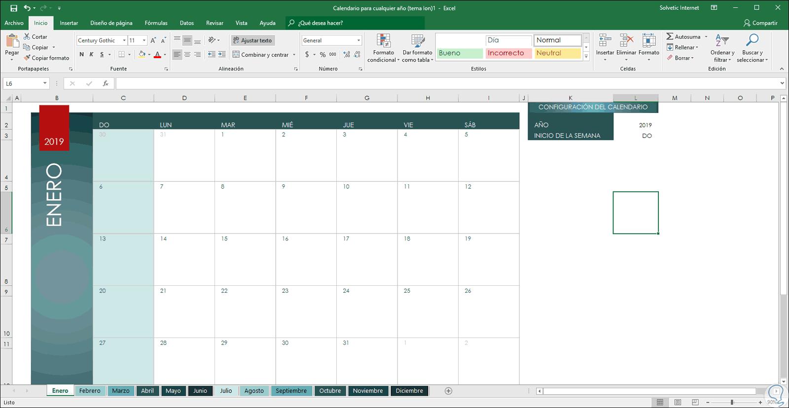 Calendario Dinamico Excel.Como Crear Y Hacer Calendario 2019 En Word O Excel 2019