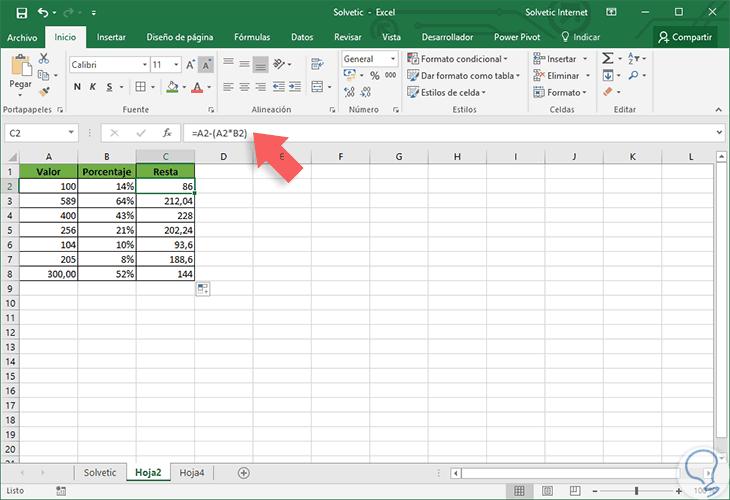 Cómo Sumar Restar Porcentaje En Excel 2016 Solvetic